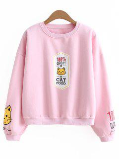 Oversized Cat Slogan Sweatshirt - Pink