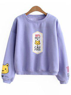 Oversized Cat Slogan Sweatshirt - Light Purple