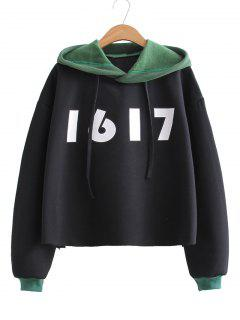 Number Two Tone Oversized Hoodie - Black