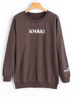 Long Sleeve Khaki Logo Sleeve Sweatshirt - Tan L