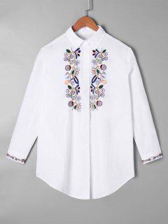 Chemise Brodée à Ourlet Incurvé - Blanc