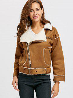 Faux Suede Shearling Moto Jacket - Brown S