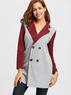 Color Block Lapel Collar Coat - Gray Xl