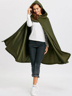 Hooded Cape Coat - Army Green M