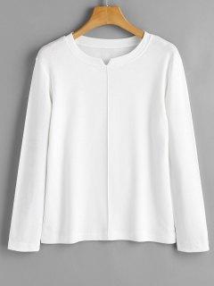 Camiseta De Manga Larga Con Cuello De Hendidura - Blanco M