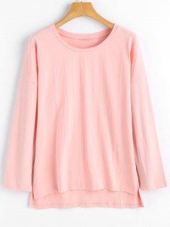 Camiseta Manga Larga Alta Baja Baja - Rosa S