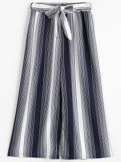 Striped Gaucho Pants - Blue And White