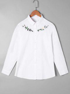 Chemise Brodée à Boutons - Blanc