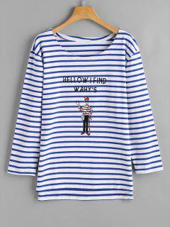 Cartoon Letter Stripes Top - Stripe Xl