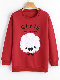 Embroidered Textured Cute Sweatshirt - Red S
