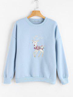 Sweatshirt Mit Drop Schulter Und Hirsch Patch  - Hellblau