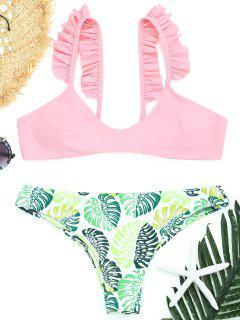 Palm Leaf Frilled Thong Bikini Set - Pink S