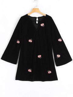 Vestido Con Abertura En Forma De Campana Y Estampado De Flores - Negro M