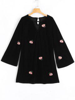 Flower Patched Flare Sleeve Keyhole Dress - Black S