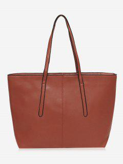 Stitching Faux Leather Zip Tote Bag - Brown