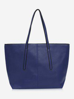 Stitching Faux Leather Zip Tote Bag - Blue