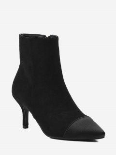 Stiletto Color Block Pointed Toe Boots - Black 36