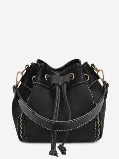 String Faux Leather Handbag - Black