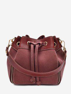 String Faux Leather Handbag - Wine Red