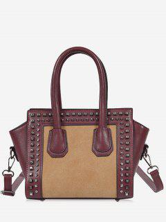 Faux Leather Color Block Studs Handbag - Wine Red