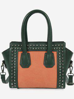 Faux Leather Color Block Studs Handbag - Deep Green