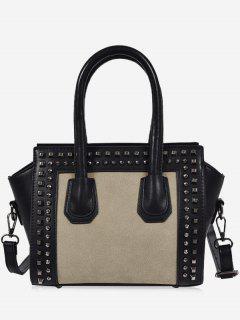 Faux Leather Color Block Studs Handbag - Gray