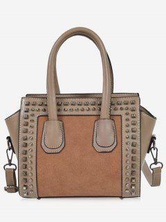 Faux Leather Color Block Studs Handbag - Khaki