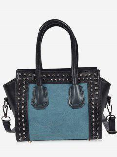 Faux Leather Color Block Studs Handbag - Blue