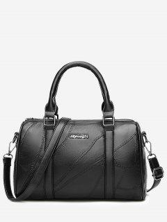 Letter Stitching Faux Leather Handbag - Black