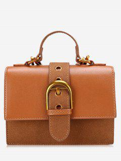 Buckle Strap PU Leather Stitching Crossbody Bag - Brown