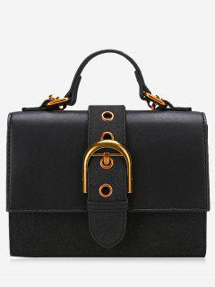 Buckle Strap PU Leather Stitching Crossbody Bag - Black