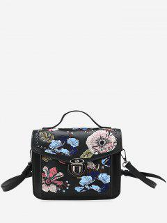 Studs Floral Embroidery Crossbody Bag - Black