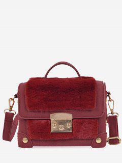 Studs PU Leather Splicing Crossbody Bag - Wine Red