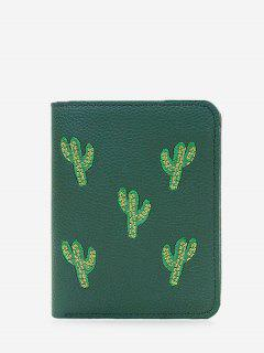 Embroidery Cactus Bi Fold Wallet - Green