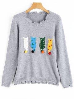 Suéter De Dobladillo Rasgado Plisado Apliques Gato - Gris