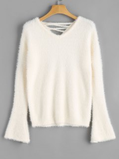 Criss Cross Flare Sleeve Mohair Sweater - Off-white
