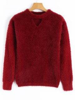 Cut Out Mohair Sweater - Deep Red