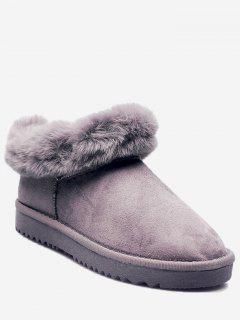 Faux Fur Trim Warm Snow Boots - Gray 36