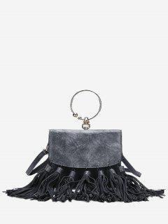 Round Ring Tassels PU Leather Handbag - Gray