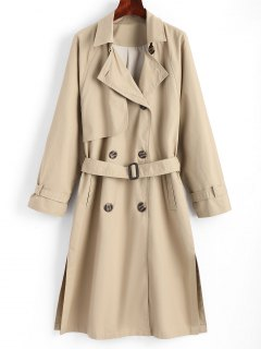 Slit Belted Double-breasted Trench Coat - Khaki M