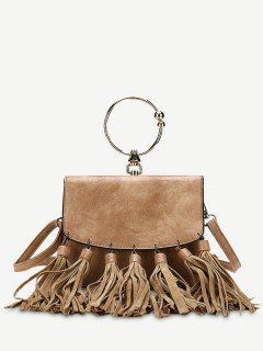 Round Ring Tassels PU Leather Handbag - Brown
