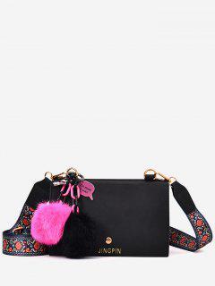 Flowers Pompoms Letter Crossbody Bag - Black