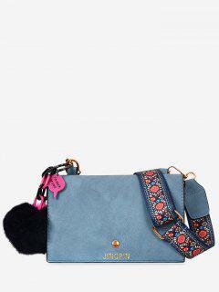 Flowers Pompoms Letter Crossbody Bag - Blue