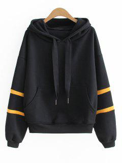 Oversized Letter Ribbed Panel Hoodie - Black