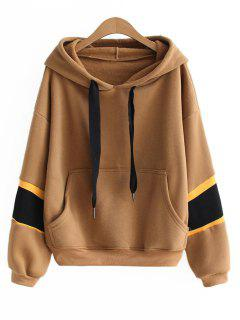Oversized Letter Ribbed Panel Hoodie - Brown