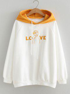 Oversized Love Girl Embroidered Hoodie - White