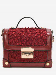 Splicing Studs Crossbody Bag With Handle - Wine Red
