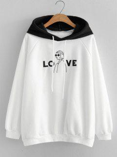 Oversized Love Girl Embroidered Hoodie - Black