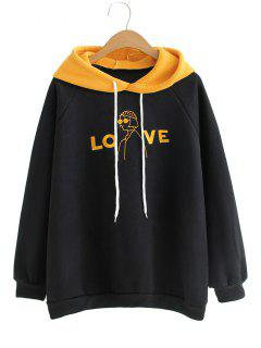 Oversized Love Girl Embroidered Hoodie - Mustard
