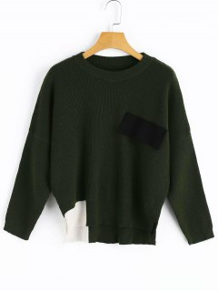 Side Slit High Low Contrast Sweater - Blackish Green